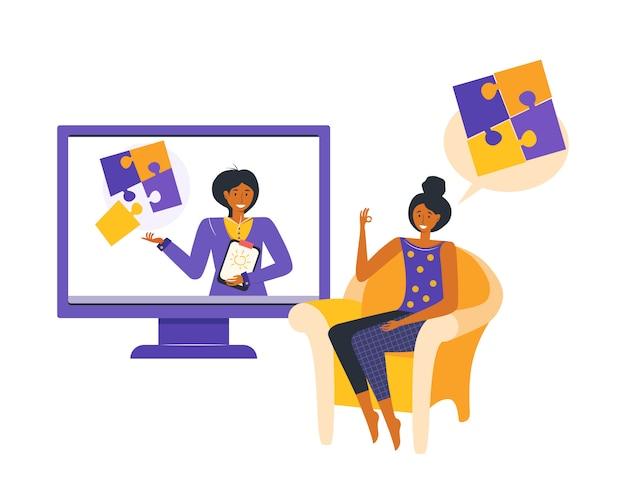 Online psychologisch consult. vrouw krijgt psychologische hulp via internet terwijl ze thuisblijftconcept online app voor specialistisch consult. geestelijke ziekte en levensproblemen.