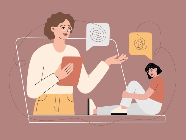 Online psychologische ondersteuning voor de patiënt via videogesprek, overleg met anonieme droevige vrouw. internetgesprek met meisje met psychische stoornis, virtuele hulplijn. moderne illustratie