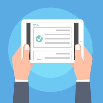 Online quiz, test, enquête of checklist. examenlijst. e-onderwijs concept. vector illustratie.