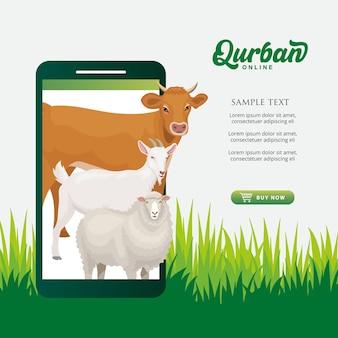 Online qurban mobiele applicatie concept. illustratie van een slimme telefoon met offerdier voor eid al adha