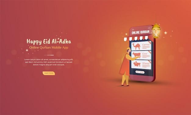Online qurban mobiele applicatie voor eid al adha-concept