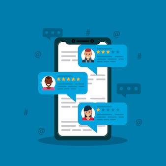 Online recensie in de telefoon