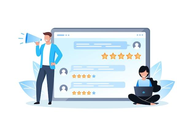 Online recensie, mensen die feedback geven, recensies van mensen op het tabletscherm, een vrouw zit met een laptop, een man staat met een megafoon