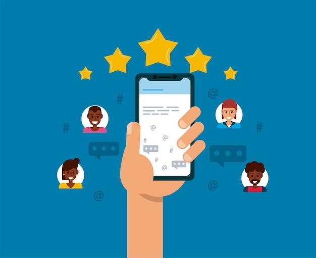 Online recensie op smartphone