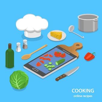 Online recepten plat isometrisch concept.