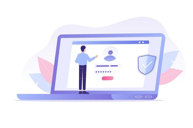 Online registratie en aanmelden met man met laptop