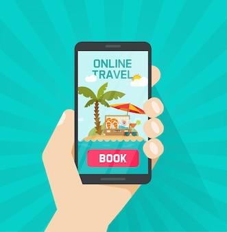 Online reis of reis die via smartphone of cellphone vectorillustratie boeken