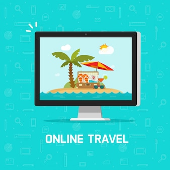 Online reis via computer of reisreserve die vectorillustratie vlak beeldverhaalontwerp boeken