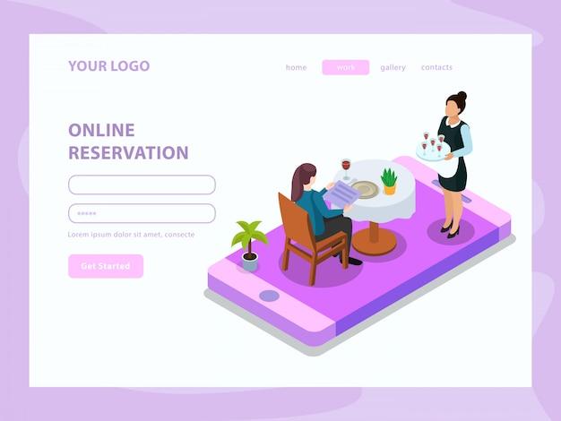 Online reservering ober en klant aan tafel op de isometrische webpagina van het mobiele apparaatscherm
