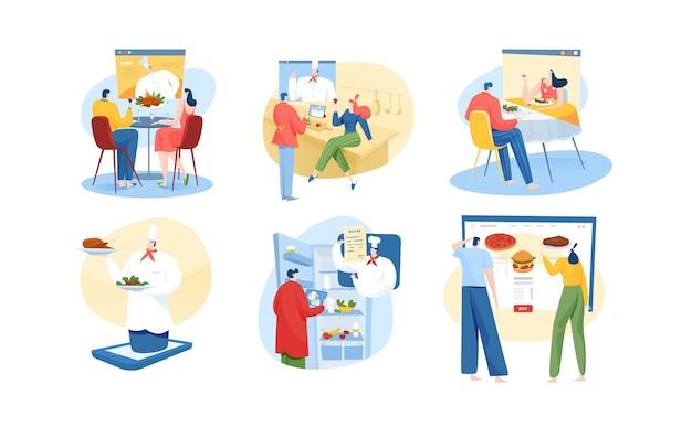 Online restaurant eten concept illustraties instellen
