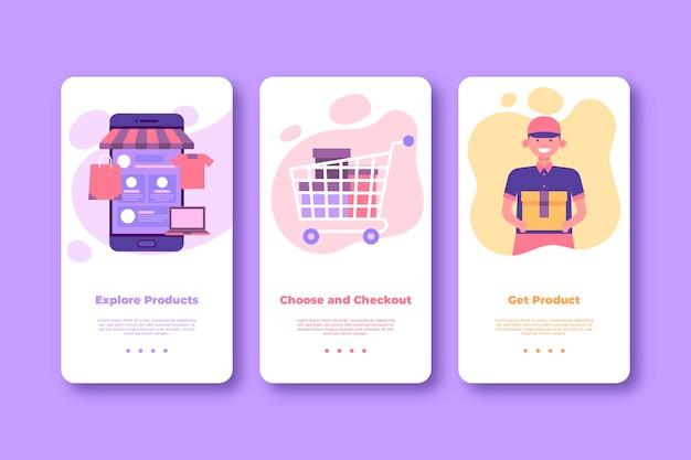 Online schermen voor onboarding-apps kopen (mobiele telefoon)