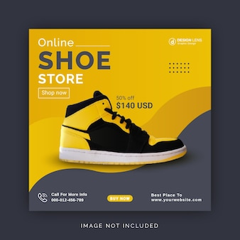 Online schoenenwinkelcollectie corporate social media post-sjabloon