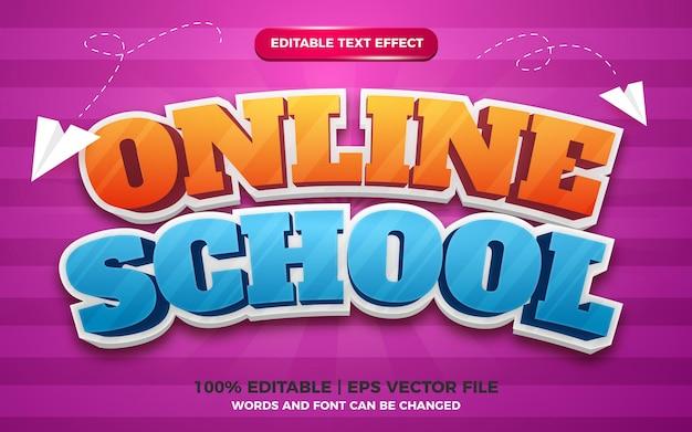 Online school cartoon kinderen 3d bewerkbare tekststijl effectsjabloon