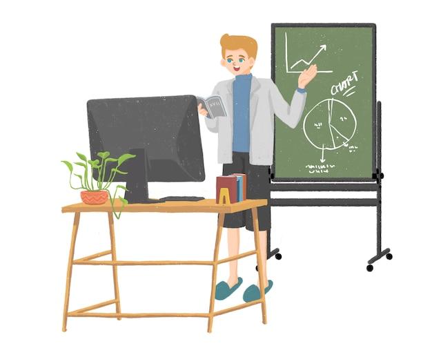 Online school mannelijke leraar nieuwe normale illustratie