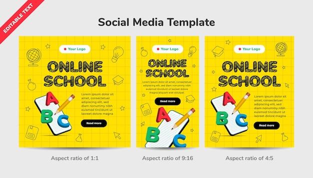 Online school sociale media sjabloon met 3d illustratie. digitale internet tutorials en cursussen, online onderwijs. bewerkbaar teksteffect.