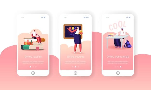Online schoolonderwijs mobiele app-pagina onboard-schermsjabloon