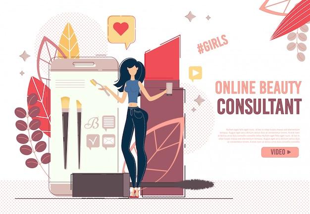 Online schoonheidsconsulent in sociale media-netwerken
