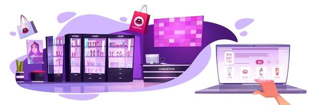 Online schoonheidssalons banner. concept van e-commerce, mobiel winkelen op internet. vectorillustratie cartoon van cosmetische salon interieur en online shop op laptop scherm