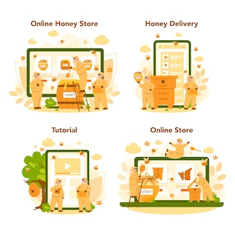 Online service of platform van hiver of imker op een andere apparaatset. professionele boer met bijenkorf en honing. bijenstalarbeider, bijenteelt en honingproductie.