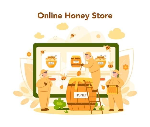 Online service of platform van hiver of imker. professionele boer met bijenkorf en honing. online honingwinkel. bijenstalarbeider, bijenteelt en honingproductie. vector illustratie