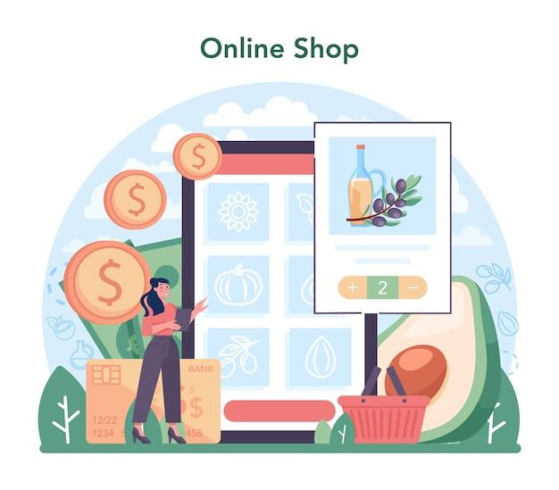 Online service of platform voor oliewinning of productie-industrie. plantaardige olie. biologisch vegetarisch ingrediënt. online winkel. platte vectorillustratie