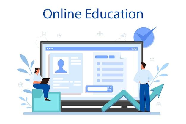 Online service of platform voor projectbeheer. succesvolle strategie, motivatie en leiderschap. analyse en ontwikkeling. online onderwijs. vector illustratie