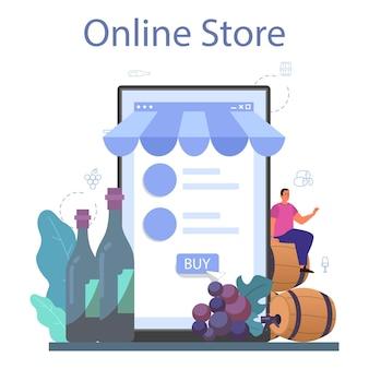 Online service of platform voor wijnmakers. druivenwijn in houten vat, fles rode wijn en glas vol alcoholdrank. online winkel. geïsoleerde vectorillustratie