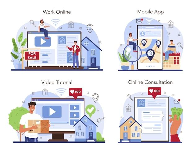 Online service of platformset van een makelaarskantoor. verhuizing, een nieuw huis kopen en eerder verkopen van onroerend goed. online werk, overleg, mobiele app, video-tutorial. platte vectorillustratie