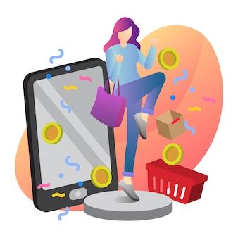 Online shop hand getrokken illustratie