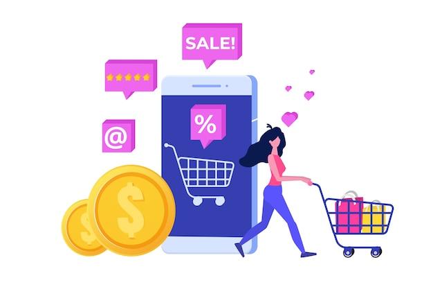 Online shopping concept met karakter