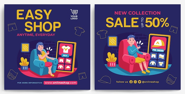 Online shopping promotie feed instagram-sjabloon in moderne ontwerpstijl
