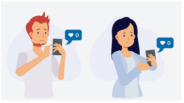 Online sociaal verslaafde concept.man en vrouw die smartphone houden en verdrietig worden omdat niemand hun foto leuk vindt. platte vectorillustratie 2d cartoon karakter.