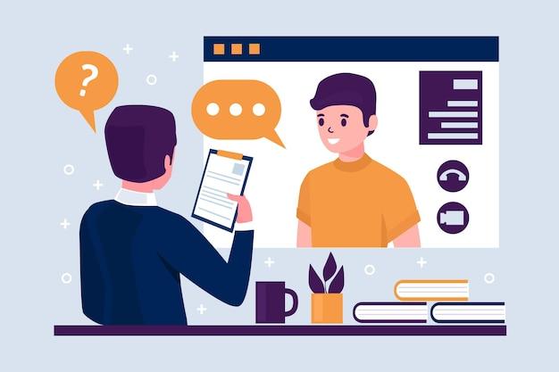 Online sollicitatiegesprek concept