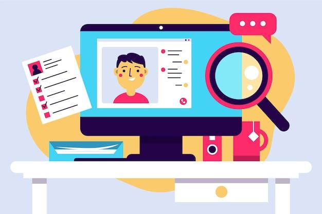 Online sollicitatiegesprek illustratie