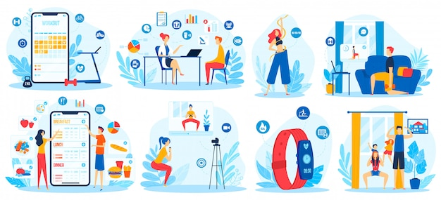 Online sport opleiding vector illustratie set.