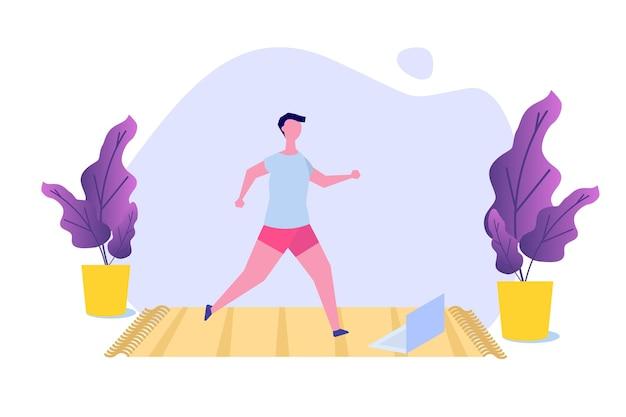Online sport-tutorial, yogastudio's streaming concept. thuis sporten. vector illustratie