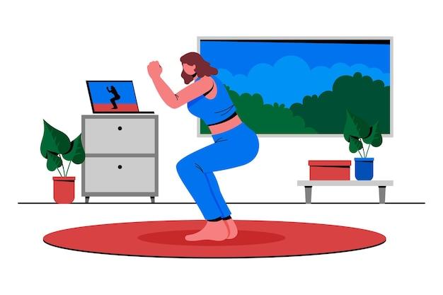 Online sportlessen met platte hand getekend