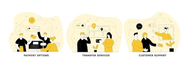 Online srvices vlakke lineaire afbeelding instellen. betalingsmogelijkheden, transferservices, klantenondersteuning. gebruiksvriendelijke mobiele applicatie. stedelijk vervoer. mensen stripfiguren