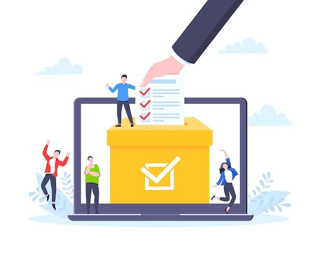 Online stemmen concept vlakke stijl ontwerp vectorillustratie kleine mensen met online stemmen poll