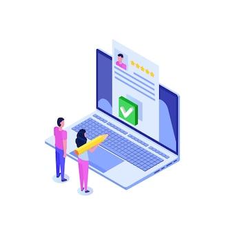 Online stemmen, e-stemmen, isometrisch concept van het internetsysteem van de verkiezingen.