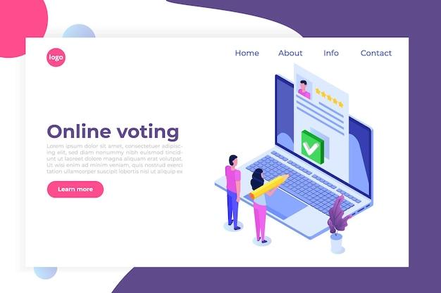 Online stemmen, e-stemmen, isometrische sjabloon van het internetsysteem van de verkiezingen.
