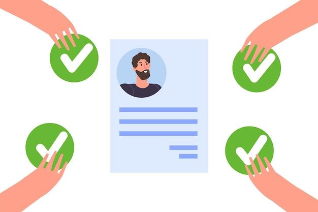 Online stemmen, e-voting, verkiezingsinternetsysteemsjabloon. handen met stempictogram.