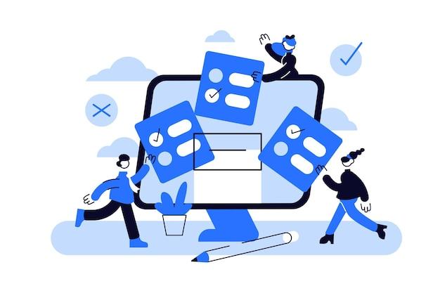Online stemmen mini mensen concept plat met computerscherm, stemkastje en kiezers die beslissingen nemen.