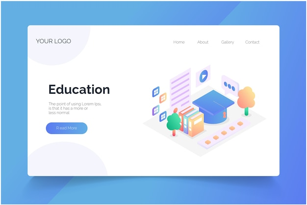 Online studiebureau opgezet. educatieve illustratie set