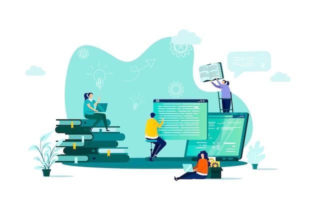 Online studieconcept in stijl met personenpersonages in situatie