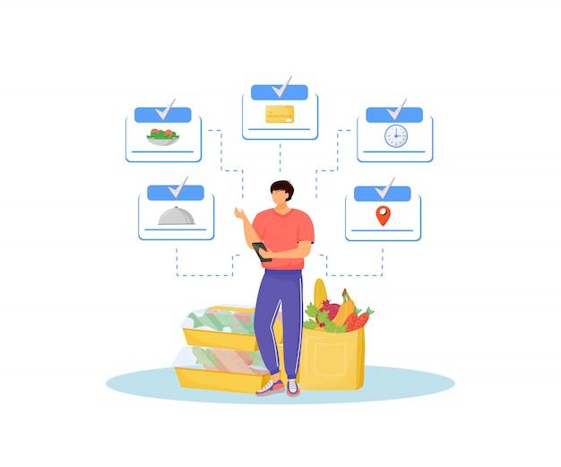 Online supermarkt concept illustratie. producten koper, klant met smartphone stripfiguur voor web. online creatief idee voor eten bestellen en bezorgen