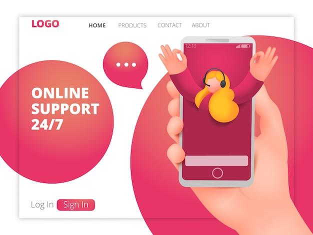 Online support webpagina sjabloon met vrouwelijke assistent karakter