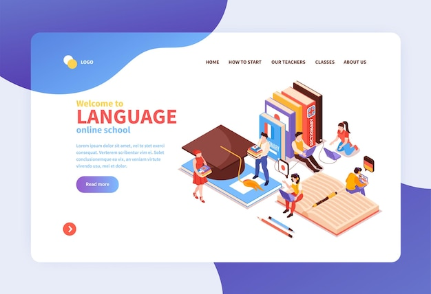 Online taalcentrum concept isometrische bestemmingspagina