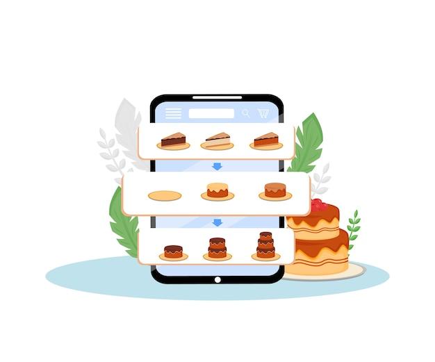 Online taarten bestellen mobiele applicatie platte ontwerp concept illustratie