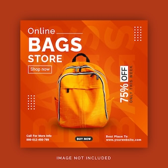 Online tassenwinkel social media post instagram advertentie bannersjabloon